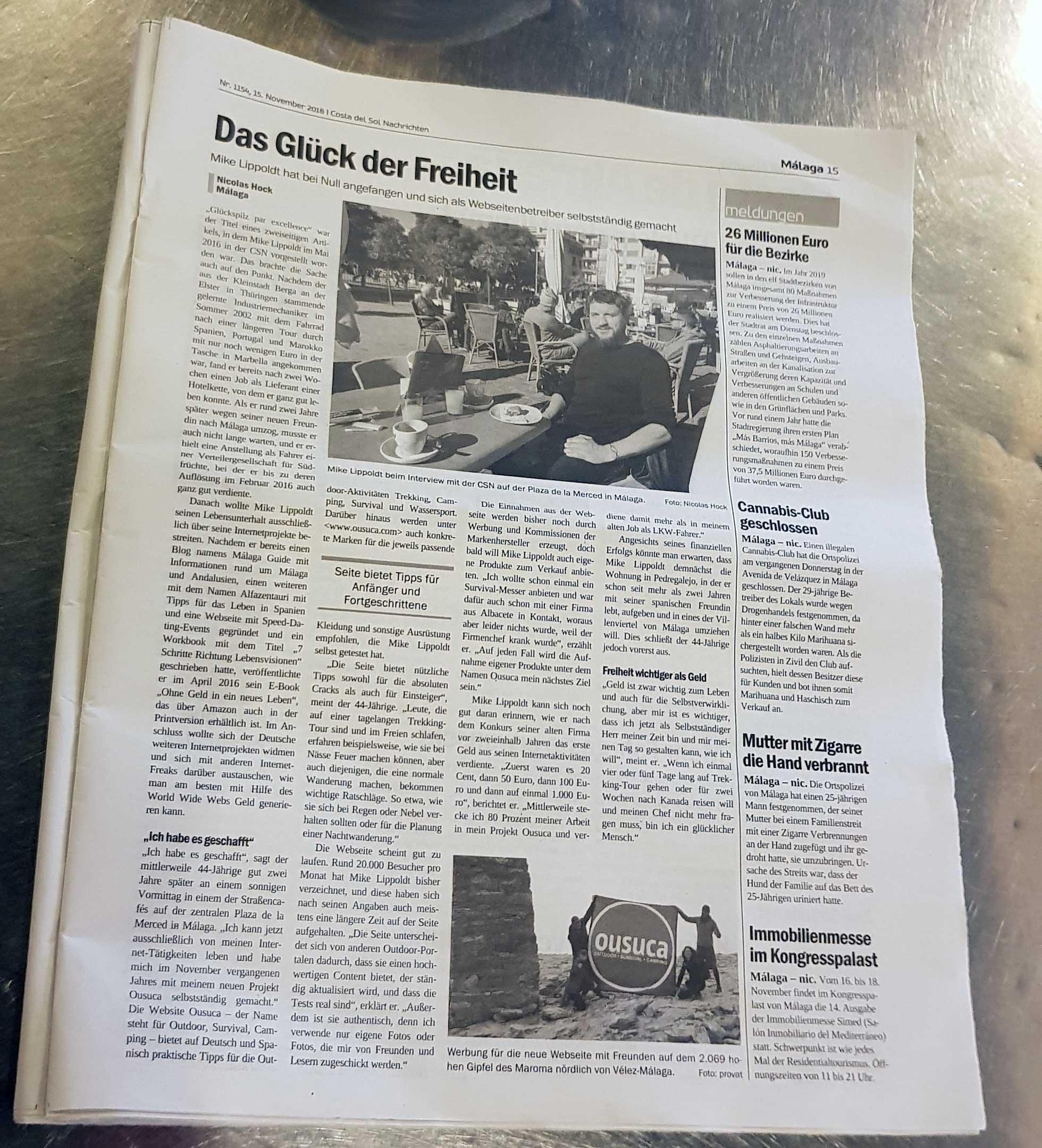 Mike Lippoldt Presse: Gründer ousuca Outdoor